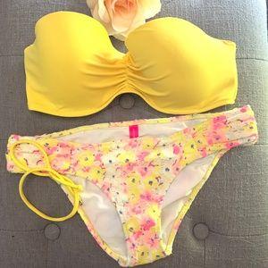 Victoria's Secret Bikini Yellow Top Floral Bottom